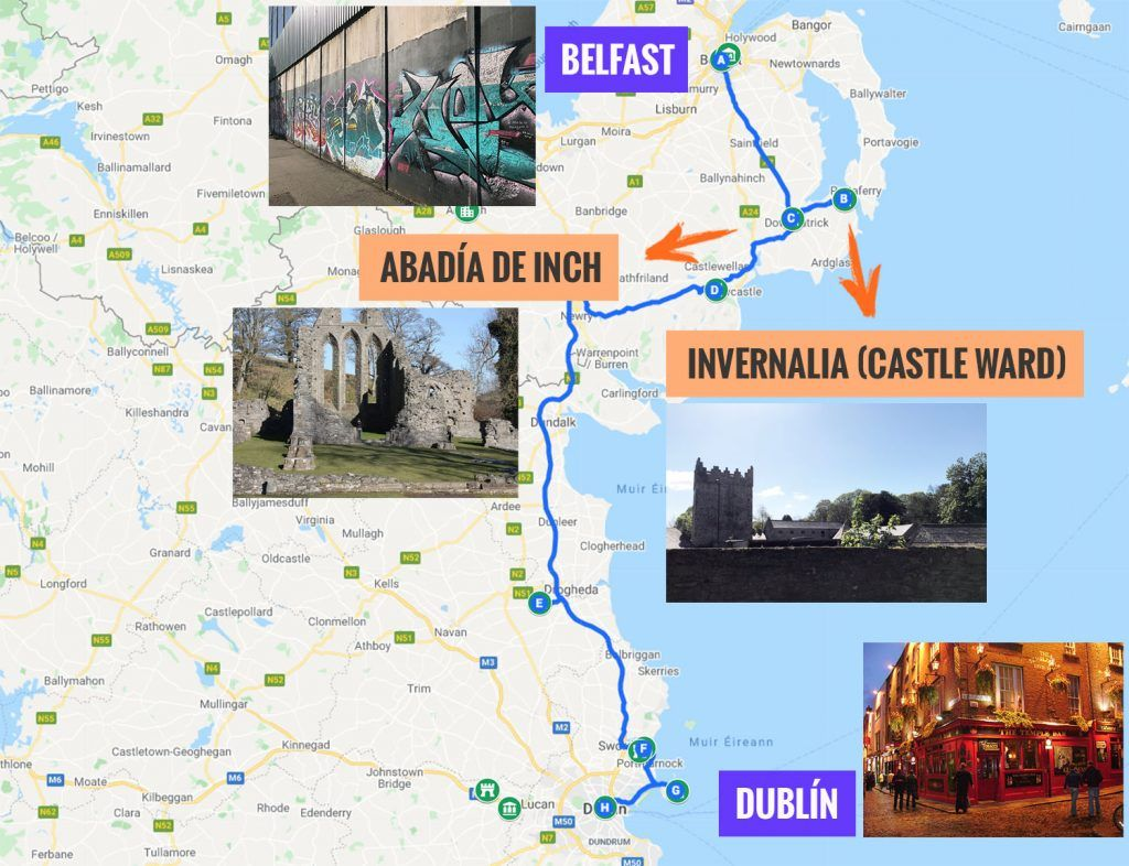 Recorrido y puntos de interés de la octava etapa de nuestra ruta por Irlanda: Belfast, Invernalia y Dublín