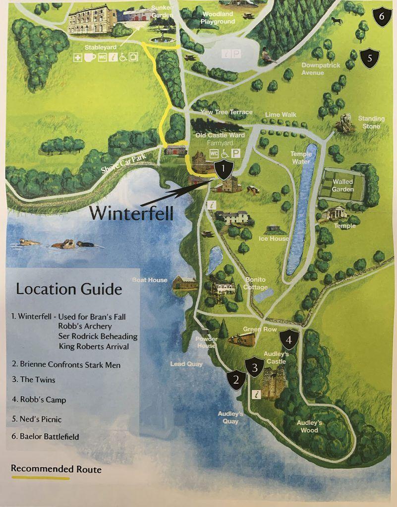 Mapa de las localizaciones de GOT en Castle Ward: Invernalia, Robb's Camp, The Twins...