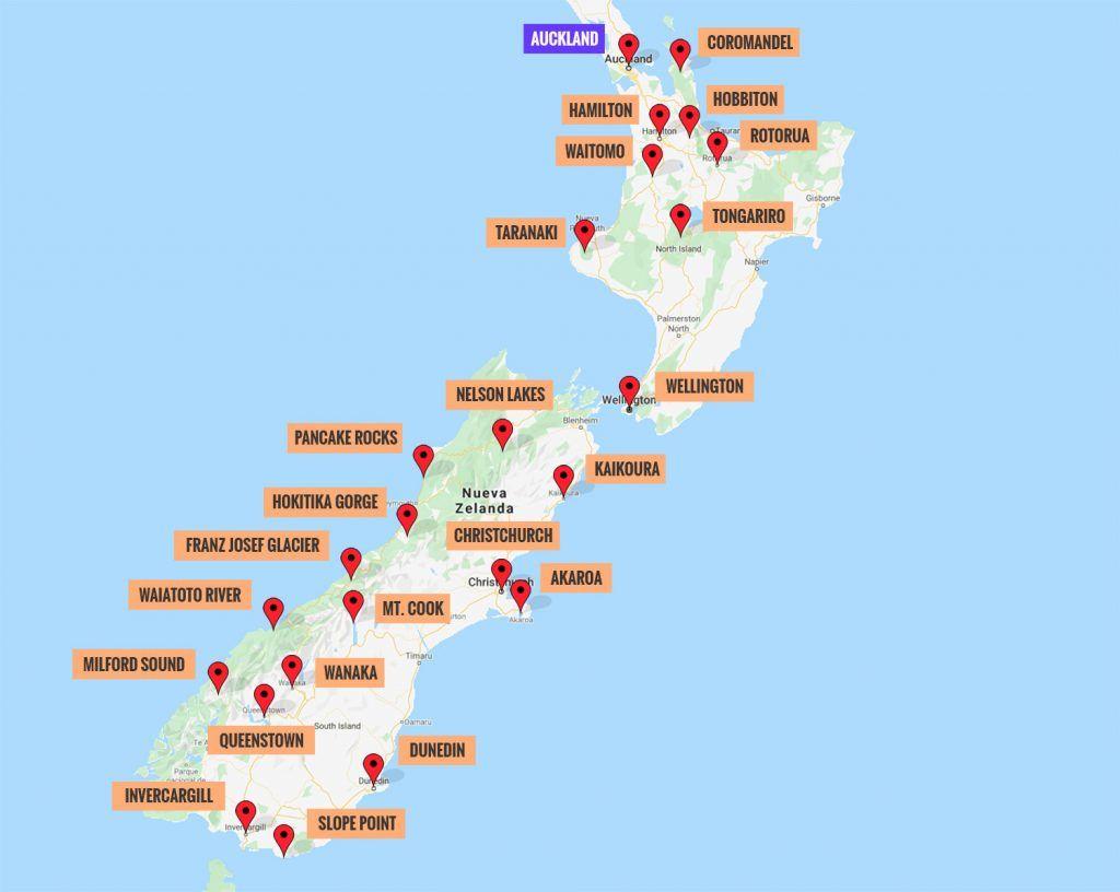 Ruta por Nueva Zelanda: mapa con los puntos de interés más importantes