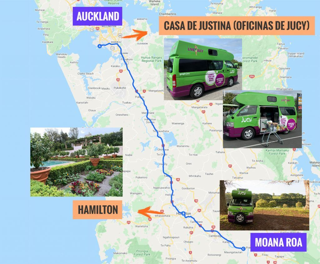 Recorrido y puntos de interés de la primera etapa de nuestra ruta por Nueva Zelanda: Auckland - Hamilton