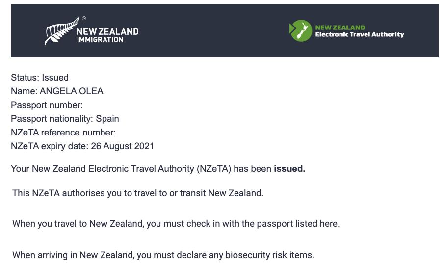 Organizar un viaje a Nueva Zelanda: NZeta emitida