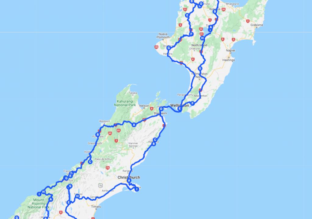 Organizar un viaje a Nueva Zelanda: mapa de nuestra ruta