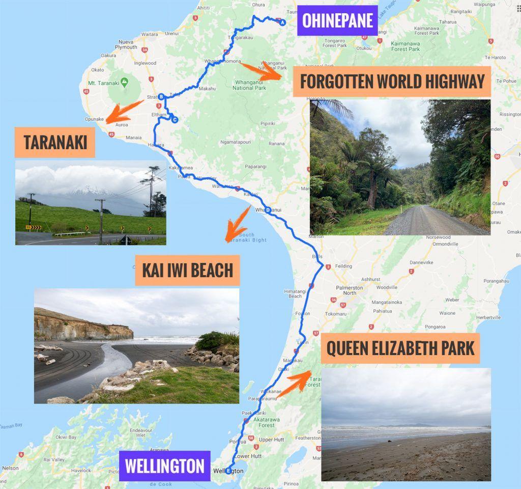 Recorrido y puntos de interés de la segunda etapa de nuestra ruta por Nueva Zelanda: Forgotten World Highway - Wellingon