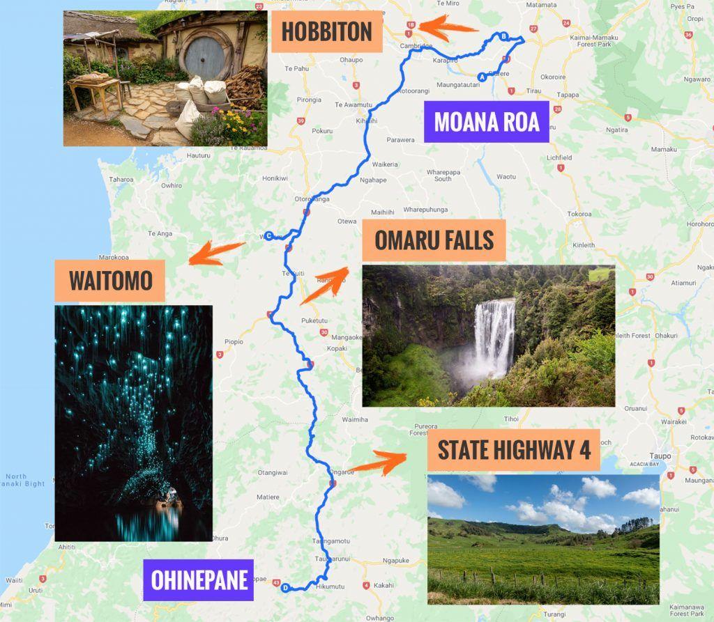 Recorrido y puntos de interés de la segunda etapa de nuestra ruta por Nueva Zelanda: Hamilton - Taumarunui