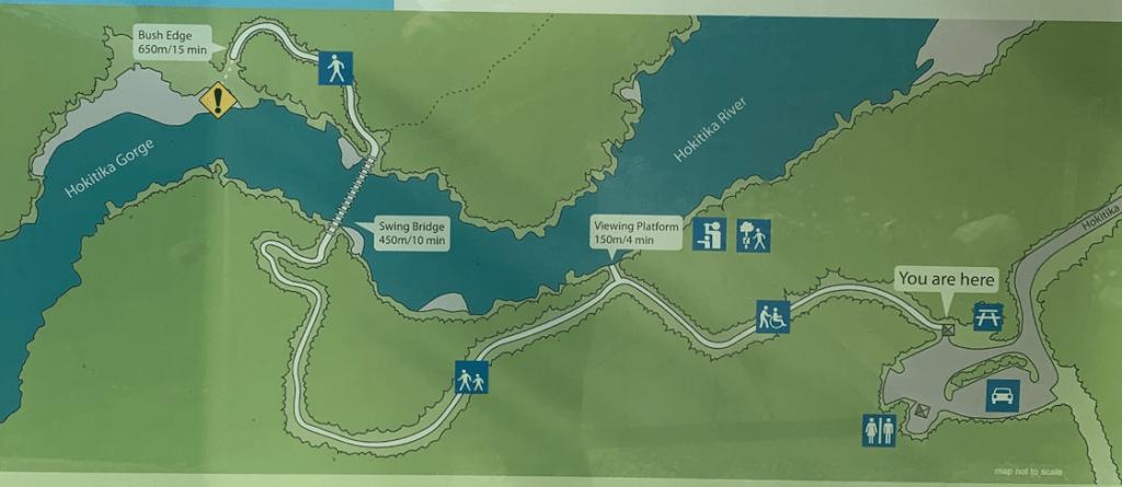 Etapa 5 por NZ recorriendo la West Coast: mapa de Hokitika Gorge