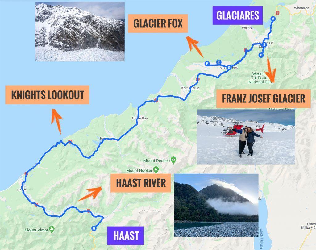 Recorrido y puntos de interés de la sexta etapa de nuestra ruta por Nueva Zelanda: Franz Josef Glacier - Haast