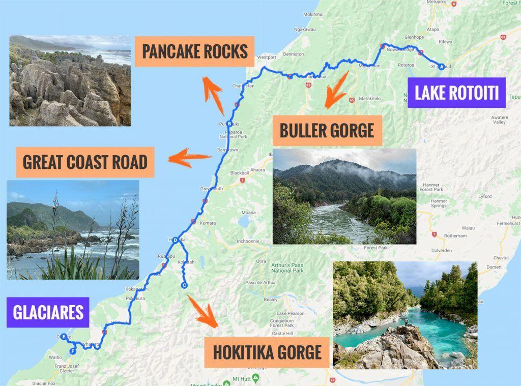 Recorrido y puntos de interés de la quinta etapa de nuestra ruta por Nueva Zelanda: Nelson Lakes - West Coast - Glaciares