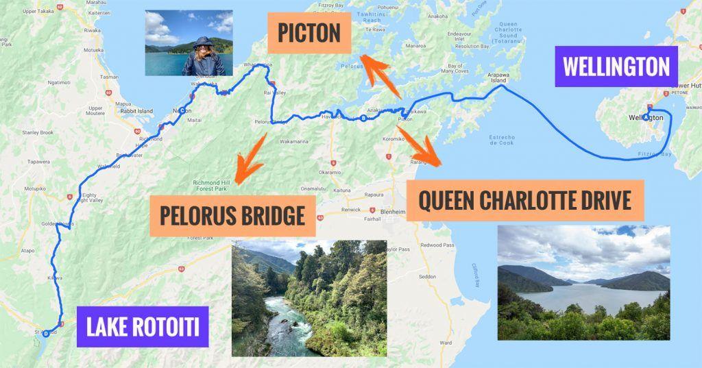 Recorrido y puntos de interés de la cuarta etapa de nuestra ruta por Nueva Zelanda: Wellingon - Nelson Lakes