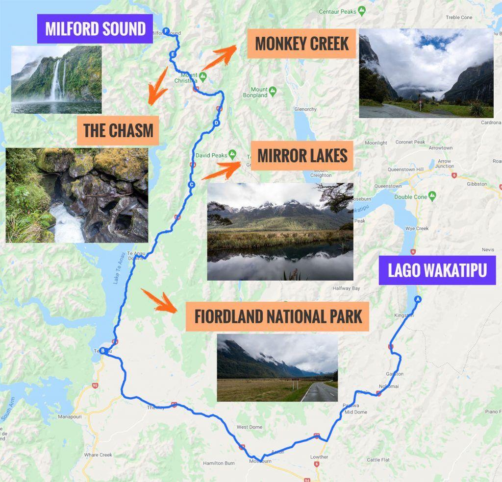 Recorrido y puntos de interés de la novena etapa de nuestra ruta por Nueva Zelanda: carretera a Milford Sound