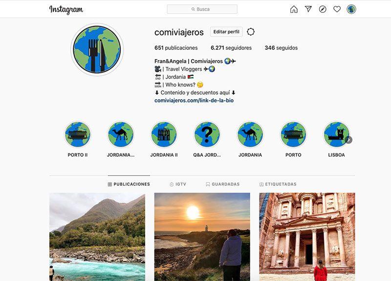 Cómo crear un blog de viajes y vivir de él: Comiviajeros en Instagram