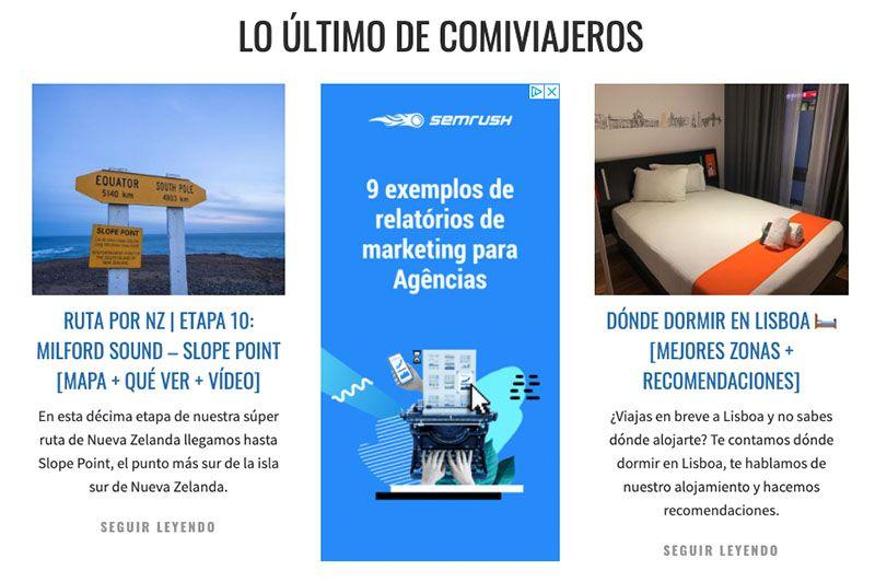 Cómo crear un blog de viajes y vivir de él: Publicidad de Adsense en Comiviajeros