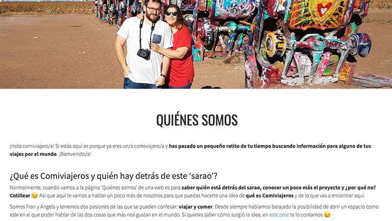 Cómo crear un blog de viajes y vivir de él: nuestra página de Quiénes somos