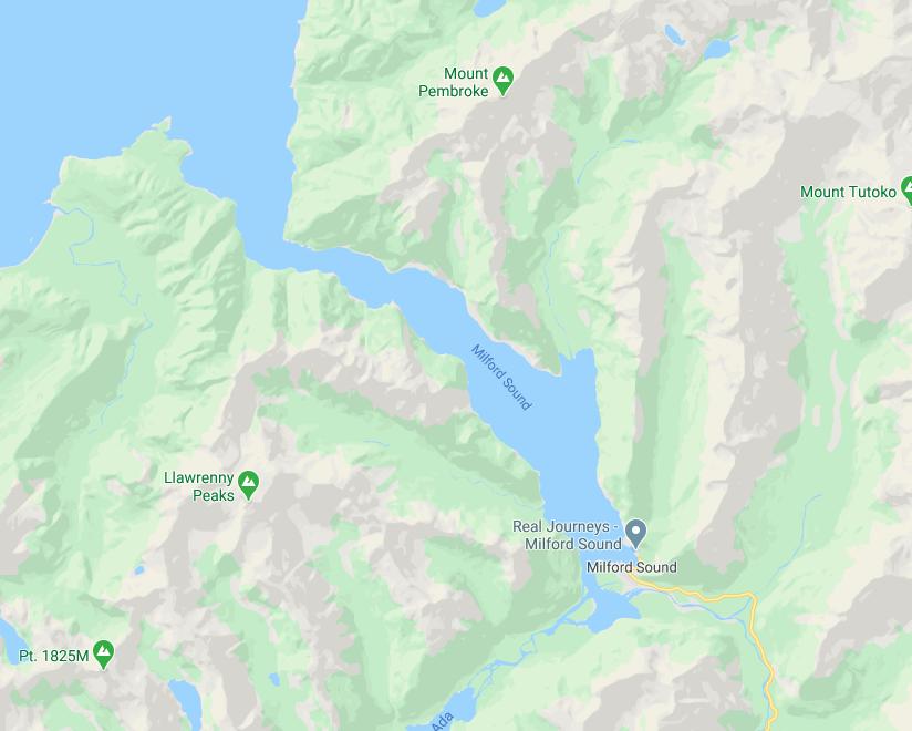 Crucero por Milford Sound: el fiordo en el mapa