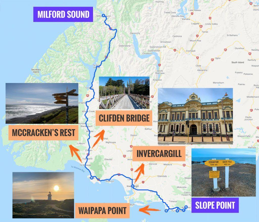 Recorrido y puntos de interés de la novena etapa de nuestra ruta por Nueva Zelanda: de Milford Sound a Slope Point