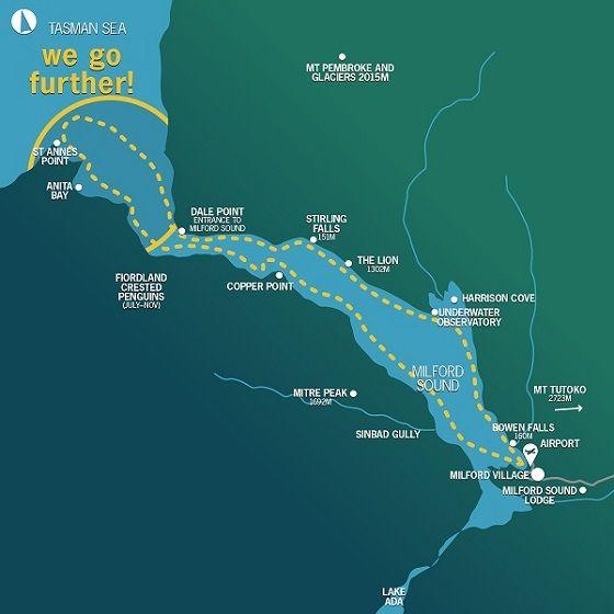 Mapa del crucero por Milford Sound con Mitre Peak