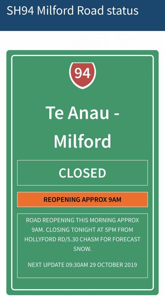 Estado de la carretera a Milford Sound: cerrada