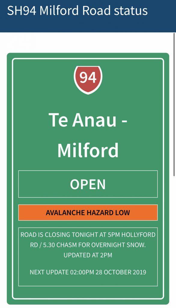 Estado de la carretera a Milford Sound: abierta
