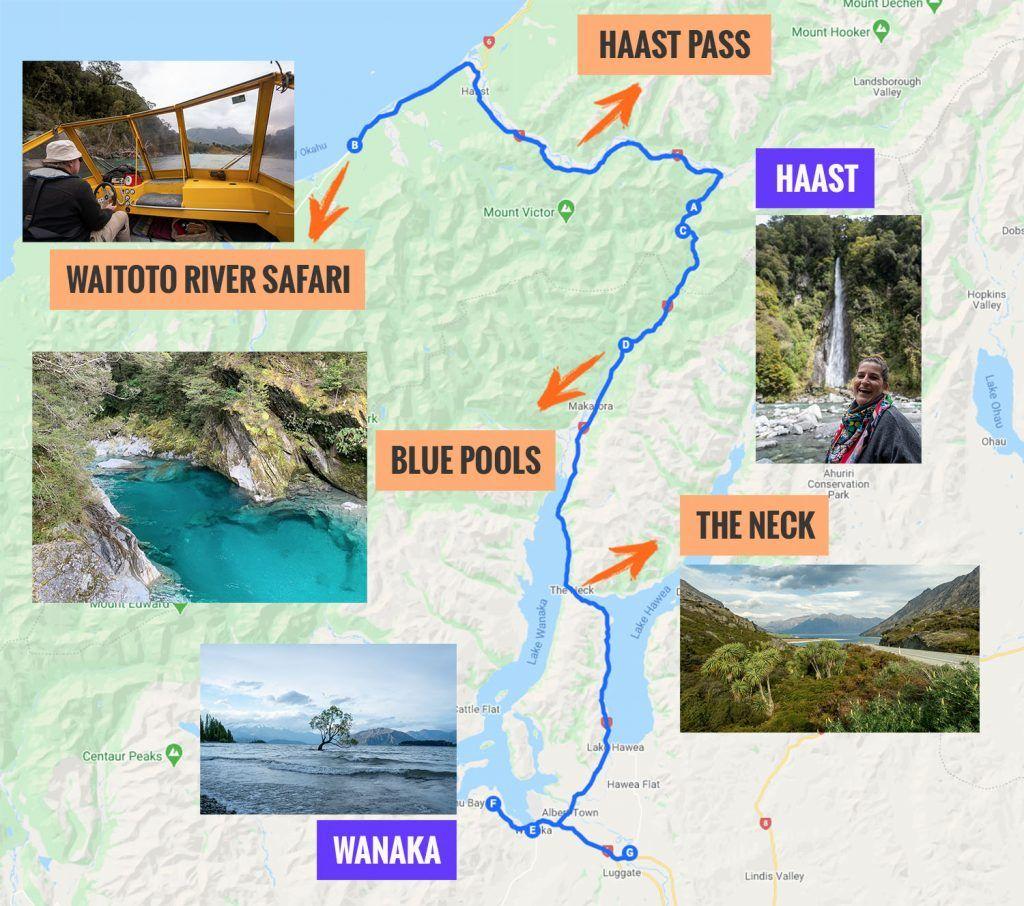 Recorrido y puntos de interés de la séptima etapa de nuestra ruta por Nueva Zelanda: Haast - Wanaka