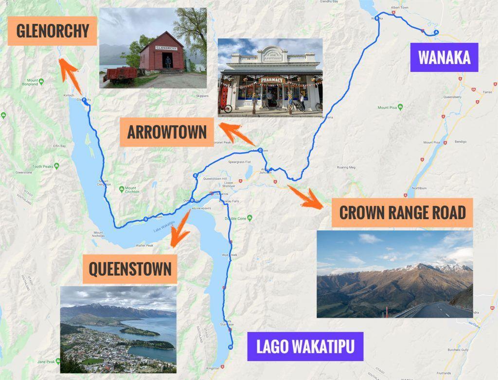 Recorrido y puntos de interés de la octava etapa de nuestra ruta por Nueva Zelanda: Wanaka - Glenorchy