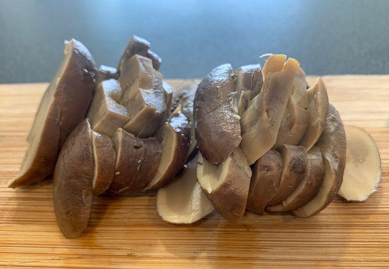 Receta de ramen: champiñones troceados