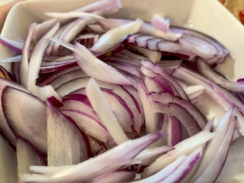 Receta de tacos: cebolla roja