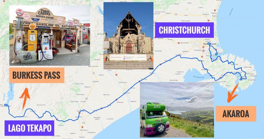 Recorrido y puntos de interés de la decimotercera etapa de nuestra ruta por Nueva Zelanda: Akaroa y Christchurch