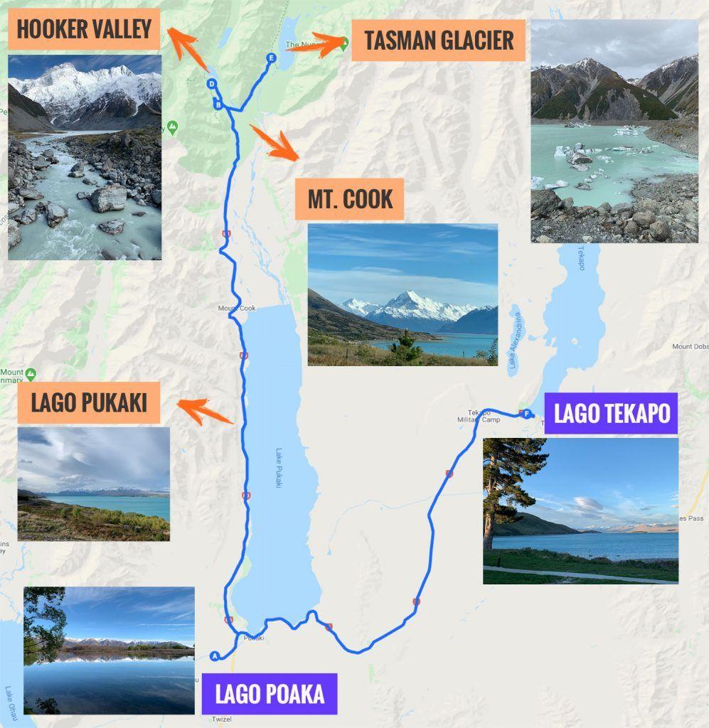 Recorrido y puntos de interés de la duodécima etapa de nuestra ruta por Nueva Zelanda: Monte Cook y glaciar Tasman