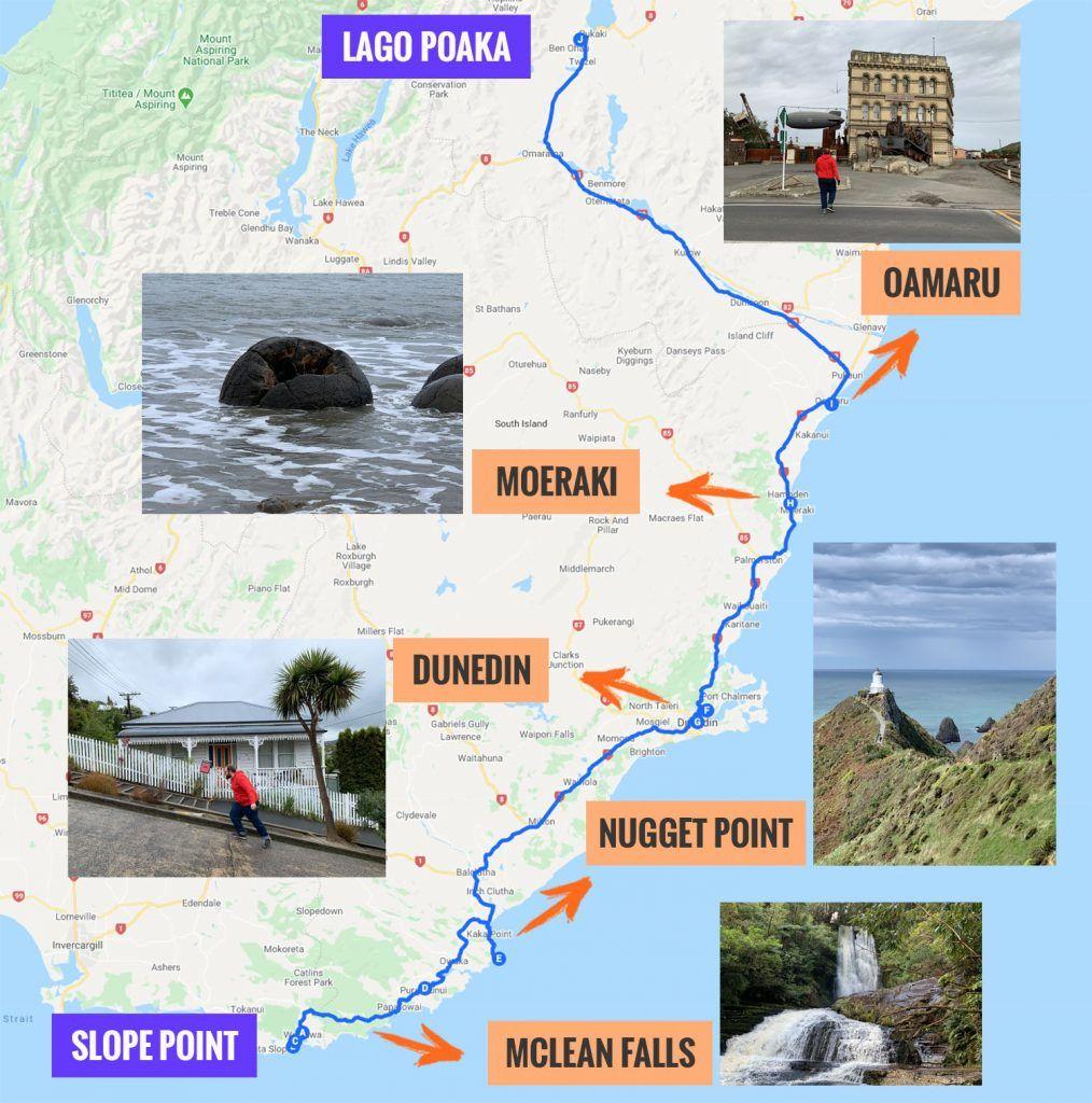 Recorrido y puntos de interés de la undécima etapa de nuestra ruta por Nueva Zelanda: de Slope Point al Monte Cook pasando por Nugget Point