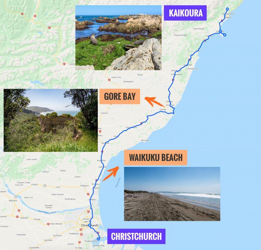 Recorrido y puntos de interés de la decimocuarta etapa de nuestra ruta por Nueva Zelanda: Christchurch - Kaikoura