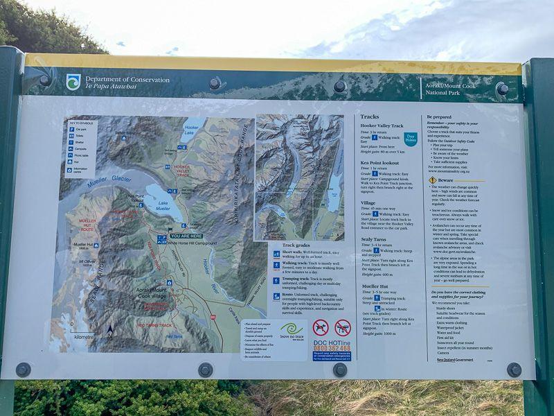Etapa 12 por NZ por el Monte Cook y Glaciar Tasman: Cartel informativo del Hooker Valley Track