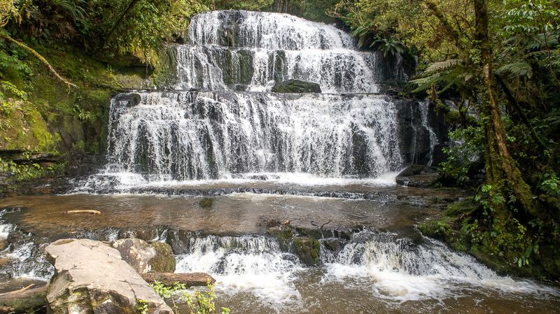 Etapa 11 por NZ desde Slope Point a Nugget Point y el Monte Cook: Purakaunui Falls