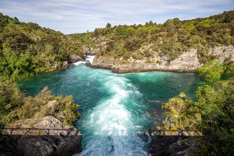 Etapa 18 por NZ entre Taupo y Rotorua: Aratiatia Rapids cerca de Taupo