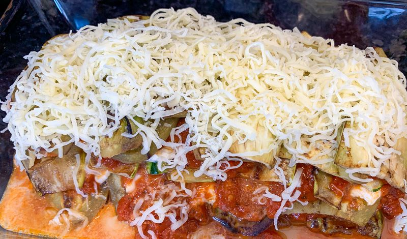 Receta de parmigiana: parmigiana justo antes de hornear