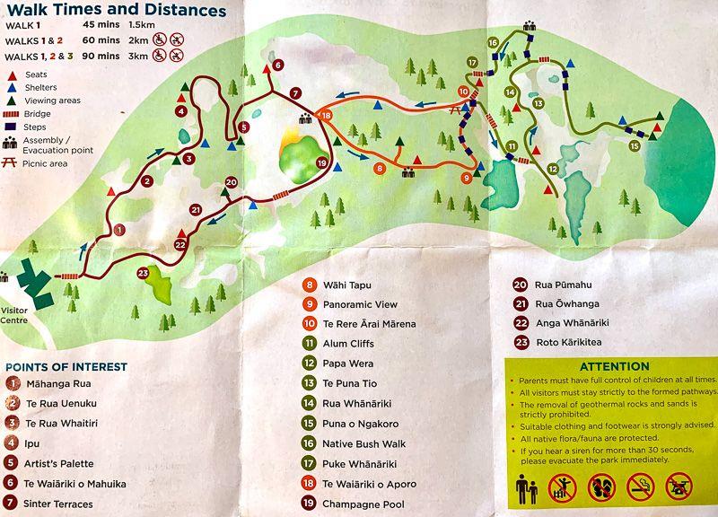 Visitar Wai-O-Tapu: mapa del parque