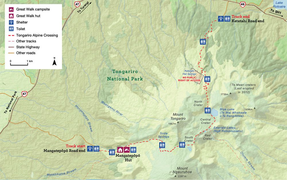 Mapa del Tongariro Alpine Crossing