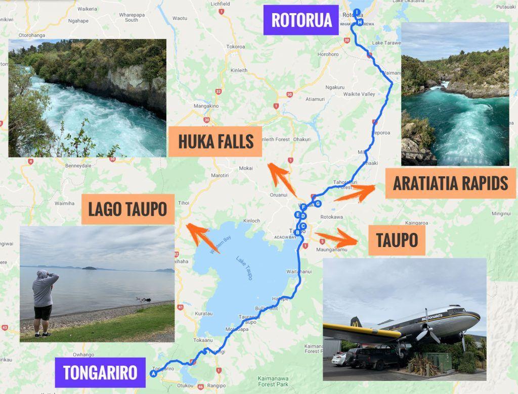 Recorrido y puntos de interés de la decimooctava etapa de nuestra ruta por Nueva Zelanda: Taupo y Huka Falls