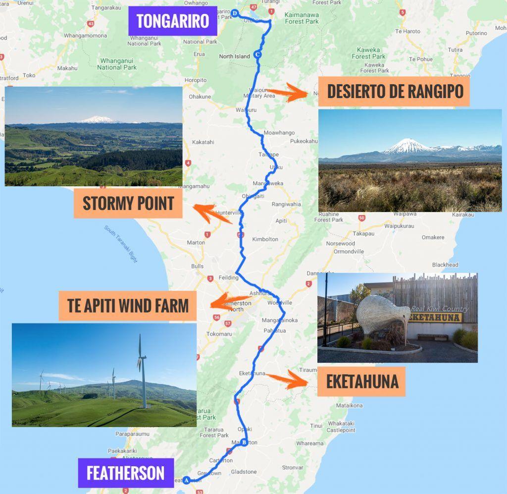 Recorrido y puntos de interés de la decimosexta etapa de nuestra ruta por Nueva Zelanda: camino del Tongariro