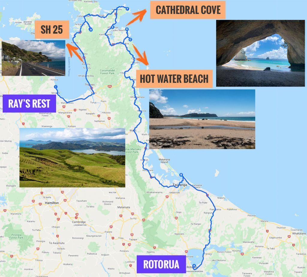 Recorrido y puntos de interés de la vigésima etapa de nuestra ruta por Nueva Zelanda: Coromandel y Cathedral Cove