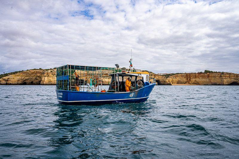 Paseo en barco por las cuevas de Benagil: barcos pescando pulpos
