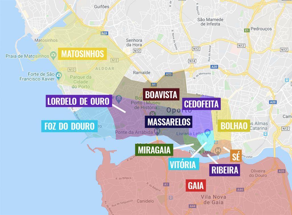 Barrios de Oporto: mapa con los más importantes - mapa de Oporto
