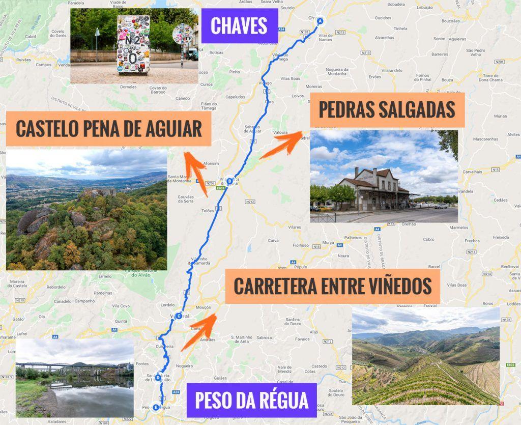 Recorrido y puntos de interés de la primera etapa de nuestra ruta por la N2: Chaves - Peso da Régua