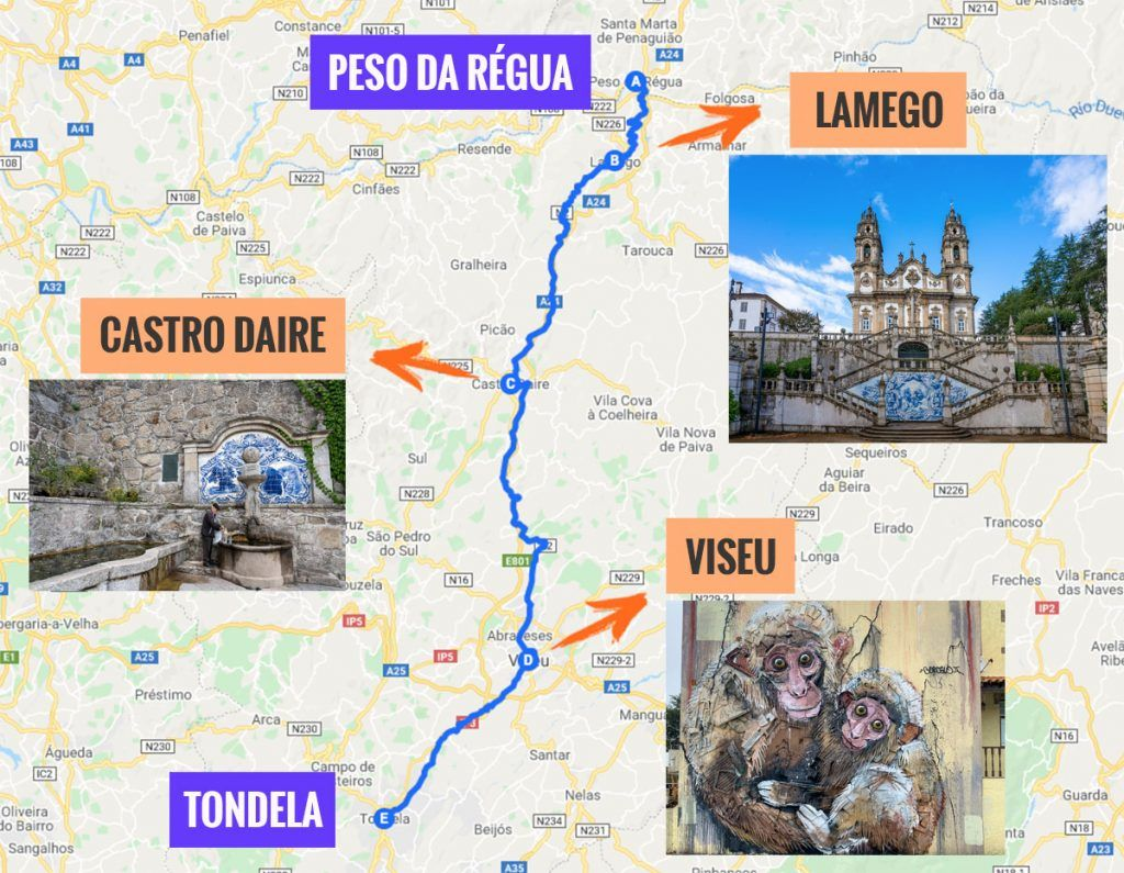 Recorrido y puntos de interés de la segunda etapa de nuestra ruta por la N2: Peso da Régua - Tondela
