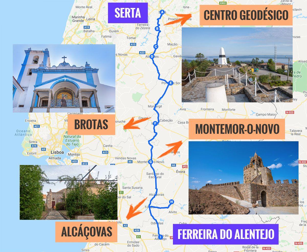Recorrido y puntos de interés de la cuarta etapa de nuestra ruta por la N2: Serta - Ferreira do Alentejo