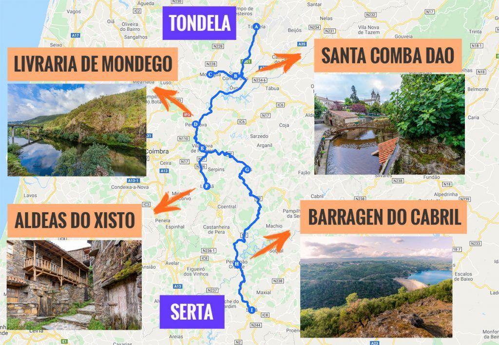 Recorrido y puntos de interés de la tercera etapa de nuestra ruta por la N2: Tondela - Serta
