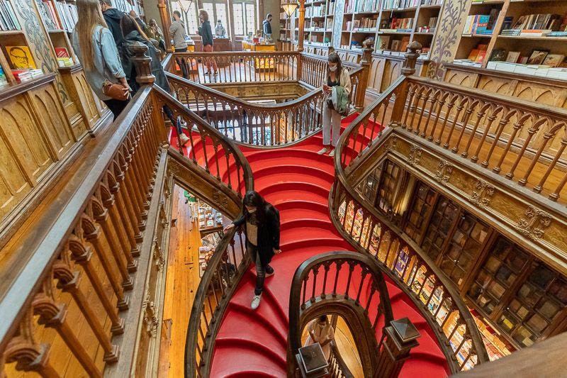 Visitar la librería Lello en Oporto: esta escalera es famosa en todo el mundo - Las 12 mejores rutas en coche por Portugal