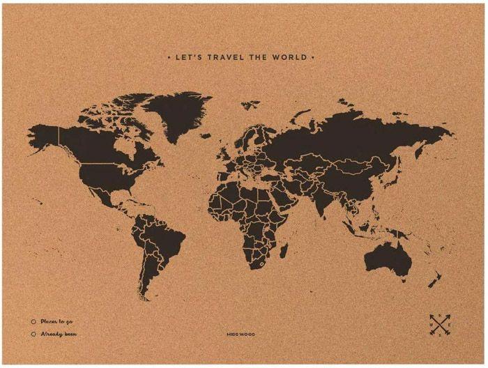 Los mejores regalos viajeros baratos: mapamundi de corcho