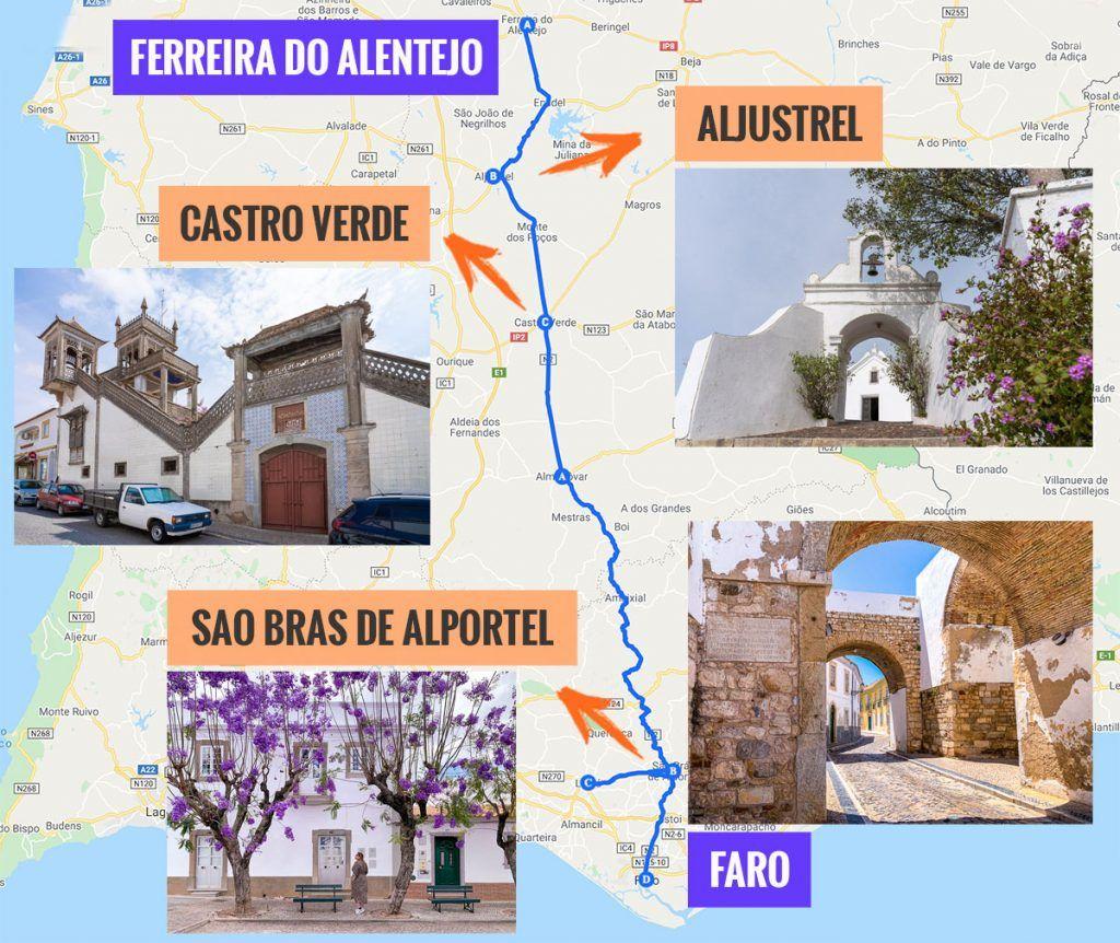 Recorrido y puntos de interés de la quinta etapa de nuestra ruta por la N2: Ferreira do Alentejo - Faro