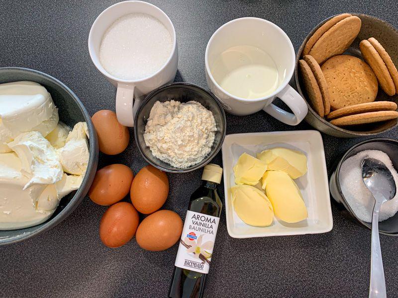 Receta de tarta de queso americana o NY Cheesecake: ingredientes