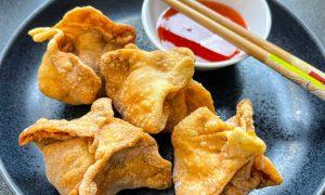 Receta de crispy wonton tailandés o kiew grob