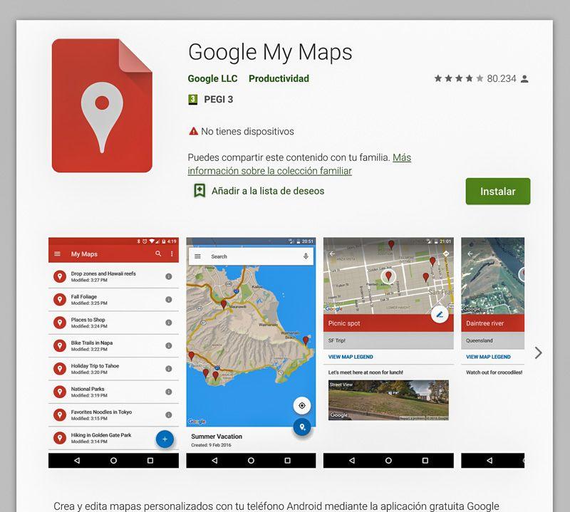Crear mapas con Google My Maps: app para Android